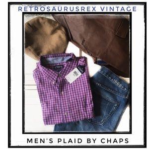 Men's Pink & Blue Plaid Button-up Shirt Chaps 2XLT